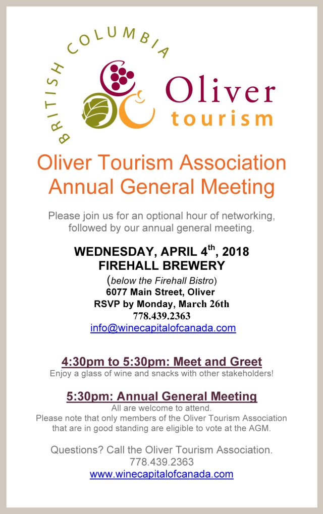 poster advertising Oliver Tourism Annual General Meeting